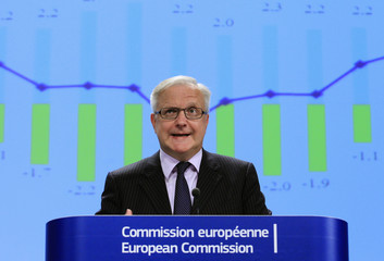 European Economic and Monetary Affairs Commissioner Rehn presents the EU Commission's interim economic forecast during a news conference in Brussels