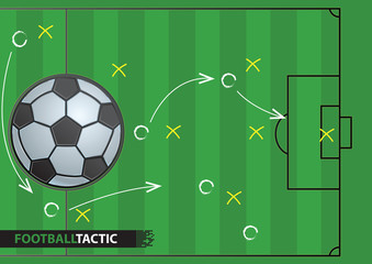 Soccer game strategy plan. football background.