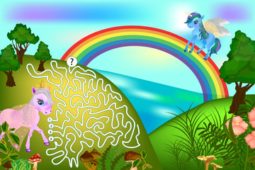 Colorful game for children with a pegasus and unicorn. Maze for children