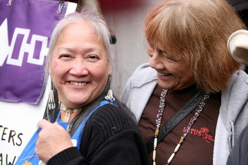 Mohawk women who traveled from upstate New York attend the Women's March in opposition to the agenda and rhetoric of President Donald Trump Washington