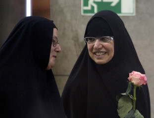 Nora Shourd and Laura Fattal arrive at Imam Khomeini International Airport,
