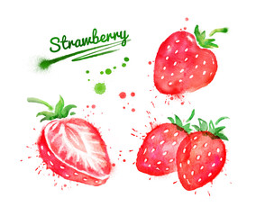 Watercolor set of strawberry