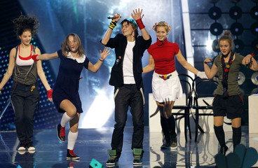 Lithuania's Bartas performs during the dress rehearsal for the 8th Junior Eurovision Song Contest in Minsk