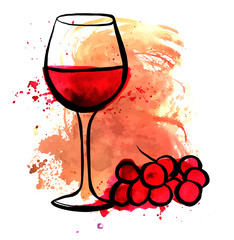Vector drawing of red wine glass on watercolor texture