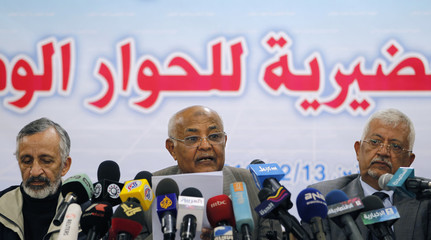 Muhammad Salem Ba Sundowa, head of the Yemeni opposition alliance's Committee for National Dialogue addresses a news conference in Sanaa