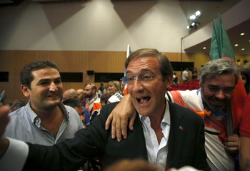 Portugal's Prime Minister Pedro Passos Coelho attends an election campaign event in Braga