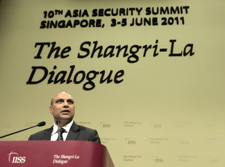 India's Minister of State for Defence Raju speaks during the IISS Asia Security Summit in Singapore