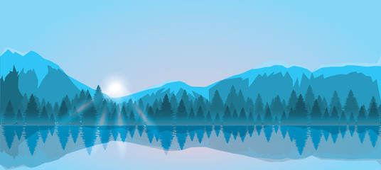 Mount and forest vector illustration. Sunrise