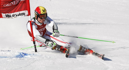 Hirscher of Austria skis during the first leg in the Men's World Cup Slalom skiing race in Val d'Isere