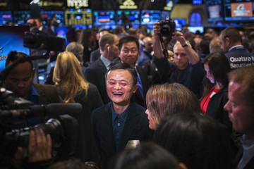 Alibaba founder Jack Ma reacts at the NYSE before the company's IPO, in New York