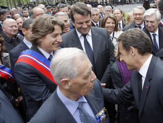France's President Sarkozy attends a ceremony in honour of French police officers who died serving their country in Neuilly-sur-Seine