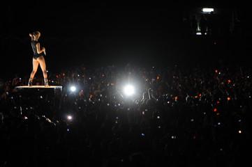 Singer Rihanna performs during a concert in Tel Aviv