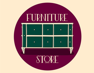 Poster. Furniture store. Beige wooden chest of drawers with blue-green details eps 10 illustration