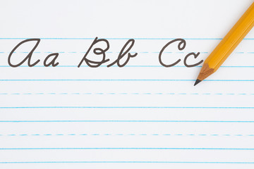 Learning to write cursive lettering