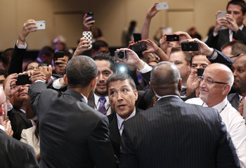 Obama greets supporters during a visit to  Florida