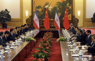 China's President Hu Jintao attends a meeting with Iran's President Mahmoud Ahmadinejad at the Great Hall of the People in Beijing