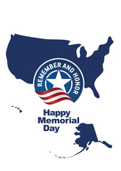 Happy Memorial Day isolated USA map portrait banner