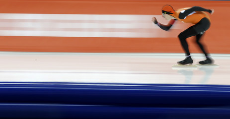 Jorrit Bergsma of the Netherlands competes in the men's 10,000 metres speed skating event during the 2014 Sochi Winter Olympics