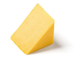 Wedge of Cheddar Cheese on White Background