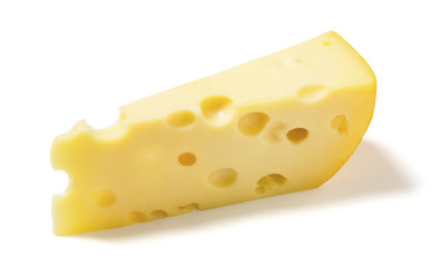 Swiss or  Emmental Cheese on White Background