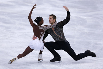 Vanessa James and Morgan Cipres of France perform during their pairs free skating program at the ISU Bompard Trophy event at Bercy in Paris