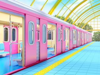 Aluminium Prints Train Station train on fantasy station