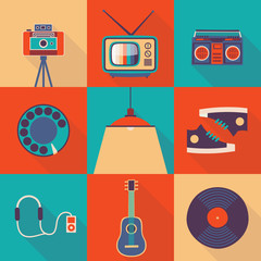 Vector illustration icon set of lifestyle: photo camera, TV, tape recorder, telephone, lamp, shoes, headphones, player, guitar, vinyl record