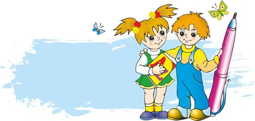 boy and girl with abc-book and pen against background of banner