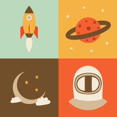 Vector illustration icon set of space: rocket, planet, crescent moon, astronaut