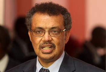 Ethiopian Foreign Affairs Minister Tedros Adhanom addressing a news conference upon his arrival in Somalia