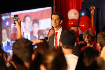 Republican Tom Cotton speaks after the results of the midterm elections in North Little Rock, Arkansas