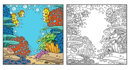 Underwater world with corals and fishes coloring page isolated on white background