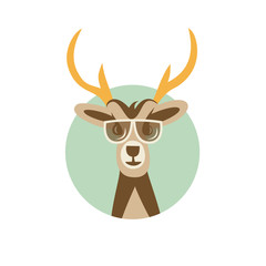 Vector Illustration of Deer Hipster with Sunglasses