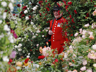 Chelsea pensioner Eddie Johnson poses for photographers on a stand displaying roses at the Chelsea Flower Show in London