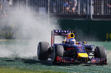 Red Bull Formula One driver Vettel of Germany drives into the gravel during the second practice session of the Australian F1 Grand Prix in Melbourne