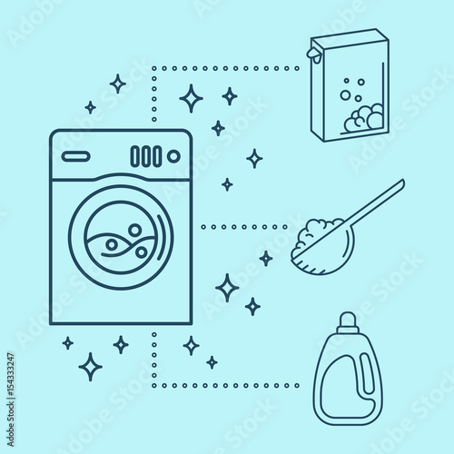 Laundry Icons Washing Machine With Washing Powder Bleach Or