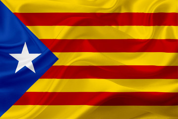 Flag of Catalunya, Spain, with waving fabric texture