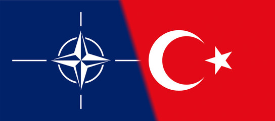 Flag of NATO and Turkey together