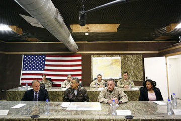 Obama sits for a military briefing with Cunningham, Dunford and Rice at Bagram Air Base in Kabul