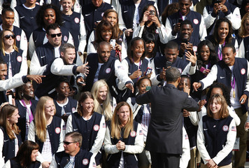 U.S. President Obama greets members of 2012 U.S. Olympic and Paralympic teams to the White House in Washington