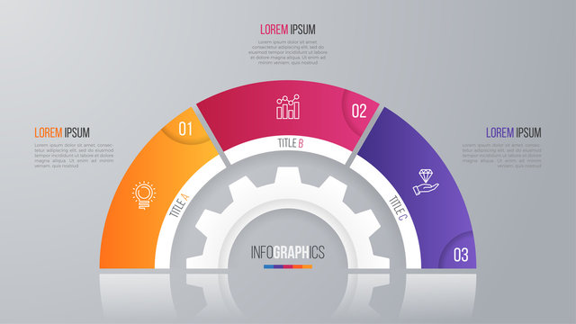 Vector circle chart template for infographics with 3 options.