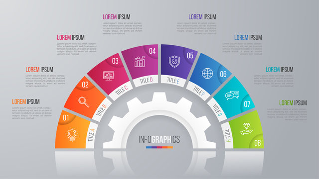 Vector circle chart template for infographics with 8 options.
