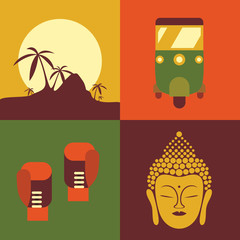 Vector illustration icon set of Thailand: jungle, taxi, boxing, buddha