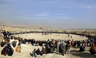 A general view of a traditional dog fighting arena in Kabul
