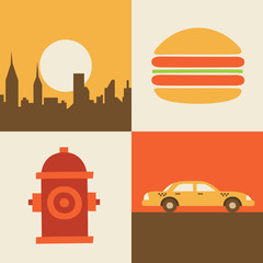 Vector illustration icon set of USA, New York, hamburger, taxi