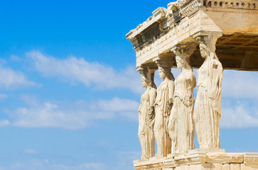 Fototapete - close up details of Erechtheion temple in Acropolis of Athens, Greece