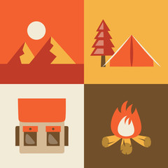 Vector illustration icon set of camping: landscape, tent, bag, fire