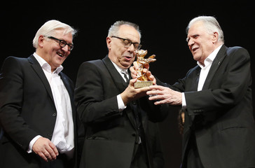 Honorary Golden Bear for lifetime achievement recipient cinematographer Ballhaus poses with award at the 66th Berlinale International Film Festival
