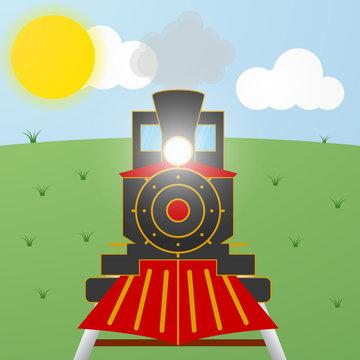Cartoon black and red steam vintage locomotive train on field