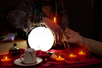 Palm reading session from fortune teller